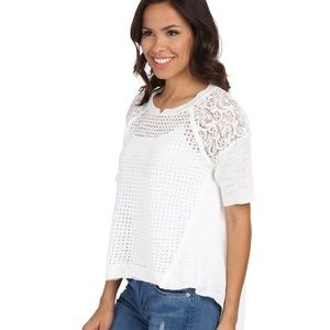 Rebecca Taylor White Short Sleeve Patchwork Top